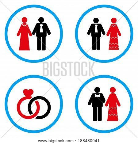 Married Persons rounded icons. Vector illustration style is a flat iconic symbols inside blue circles. Designed for web and software interfaces.