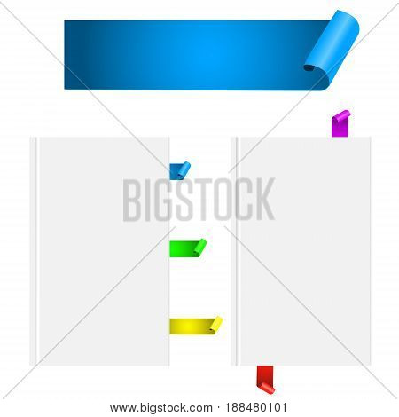 Realistic ribbon paper scroll banner bookmarks. Book mock up isolated on white. Vector illustration design template