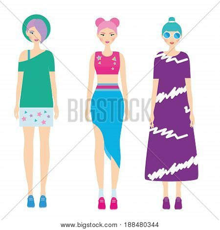 Young modern girls with colorful hairstyle. Fashionable Woman dresscode. Smiling Females in trendy casual clothes. 90s style. Vector illustration