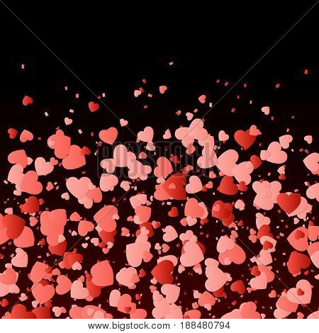Valentine background with red hearts. The love story vector