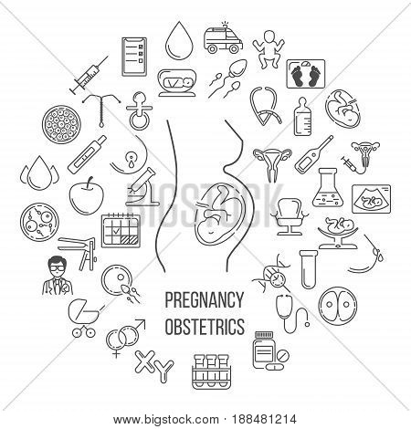 Pregnant and obstetrics concept with different obstetrics elements and other ginecological research vector symbols isolated on background. Perfect illustration for flyer or banner.
