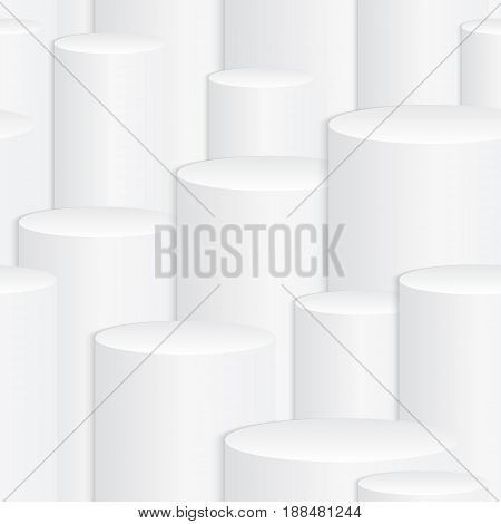 Abstract white background with a 3d effect. Seamless pattern with geometric elements