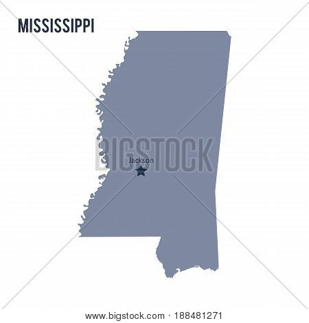 Vector Map State Of Mississippi Isolated On White Background.