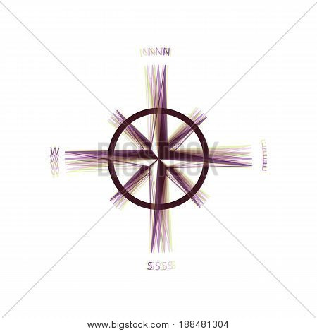 Wind rose sign. Vector. Colorful icon shaked with vertical axis at white background. Isolated.