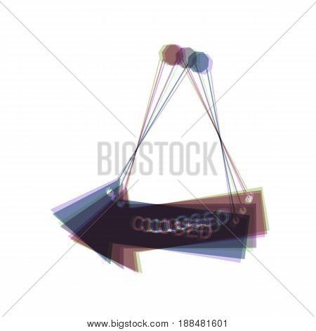 Closed sign illustration. Vector. Colorful icon shaked with vertical axis at white background. Isolated.