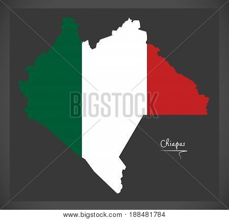 Chiapas Map With Mexican National Flag Illustration