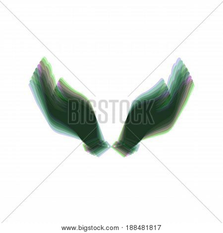 Hand icon illustration. Prayer symbol. Vector. Colorful icon shaked with vertical axis at white background. Isolated.