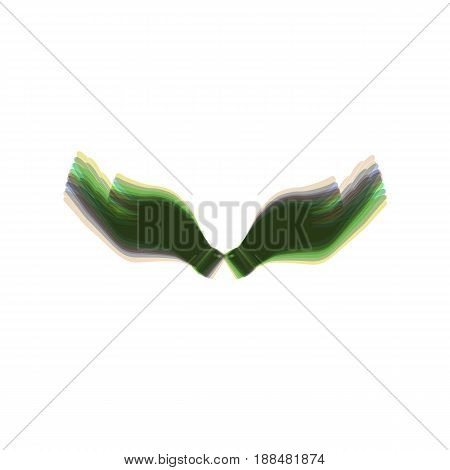 Hand sign illustration. Vector. Colorful icon shaked with vertical axis at white background. Isolated.