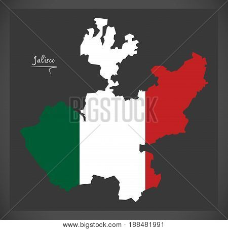 Jalisco Map With Mexican National Flag Illustration
