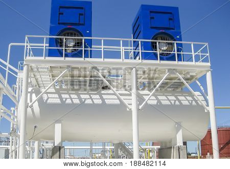 Water Cooling Tower. Oil Refinery. Equipment For Primary Oil Refining.