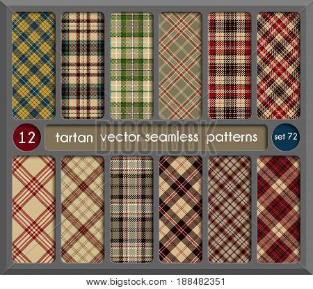 Set in Beige Tartan Seamless Pattern Background. Red Black Green Gold Blue and White Plaid Tartan Flannel Shirt Patterns. Trendy Tiles Vector Illustration for Wallpapers.