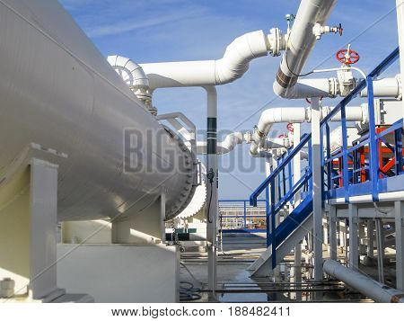 Heat Exchangers In A Refinery. Heated Gasoline Air Cooler. The Equipment For Oil Refining