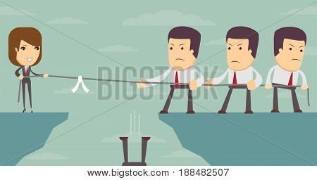 Businessman and Businesswoman in Tug of War on Clifftop. Great illustration of Businessmen embroiled in a war of attrition on the top of the cliffs.
