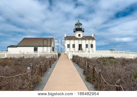 Point Loma Lighthouse in Cabrillo National Park, San Diego.