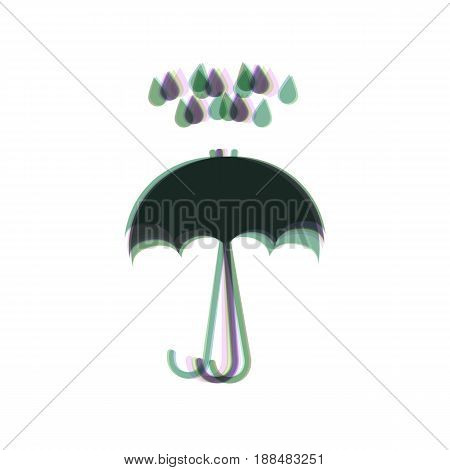 Umbrella with water drops. Rain protection symbol. Flat design style. Vector. Colorful icon shaked with vertical axis at white background. Isolated.