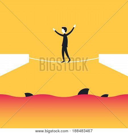 Businessman is walking a tightrope over the sea with the sharks. Business risks and difficulties concept. Vector illustration in trendy style