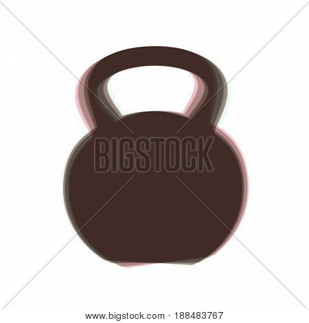 Fitness Dumbbell sign. Vector. Colorful icon shaked with vertical axis at white background. Isolated.