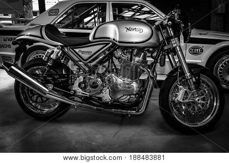 BERLIN GERMANY - MAY 17 2014: Sports motorcycle Norton Commando 961 Cafe Racer. Black and white. 27th Oldtimer Day Berlin - Brandenburg