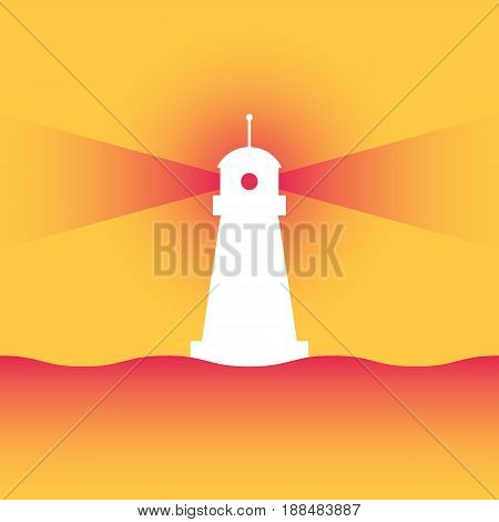 Lighthouse with rays of directional light. The concept of strategic business planning. Vector illustration in trendy style