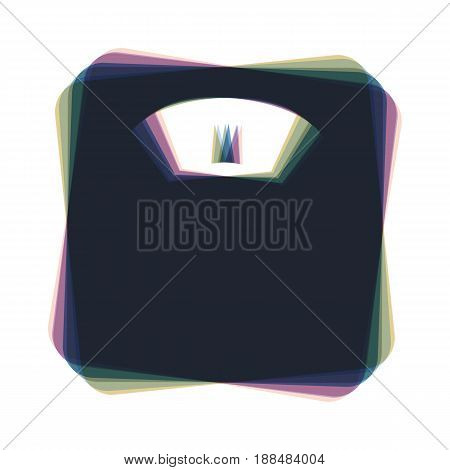 Bathroom scale sign. Vector. Colorful icon shaked with vertical axis at white background. Isolated.