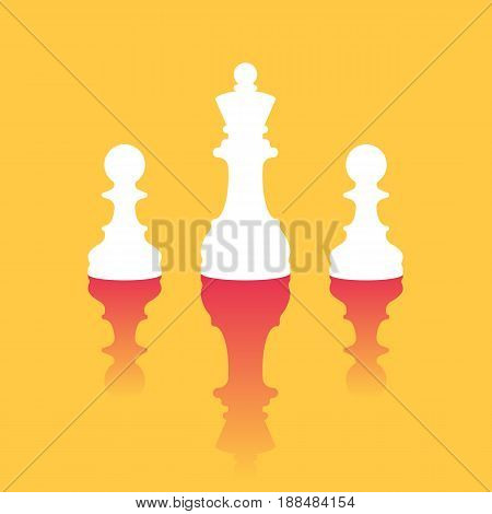 Queen standing out among pawns. The concept of business leadership. Vector illustration in trendy style