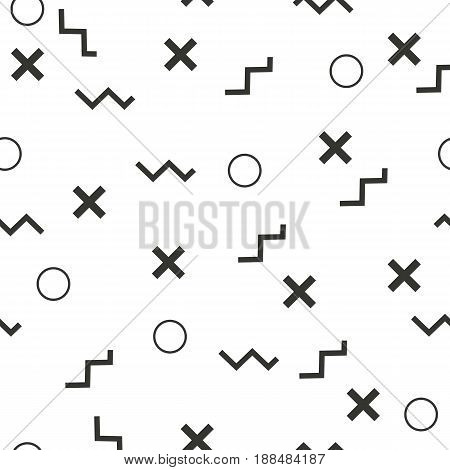 Flat vector texture of geometric shapes. Monochromatic figures pattern in modern hipster style. Fun abstract background with geometrical lines.