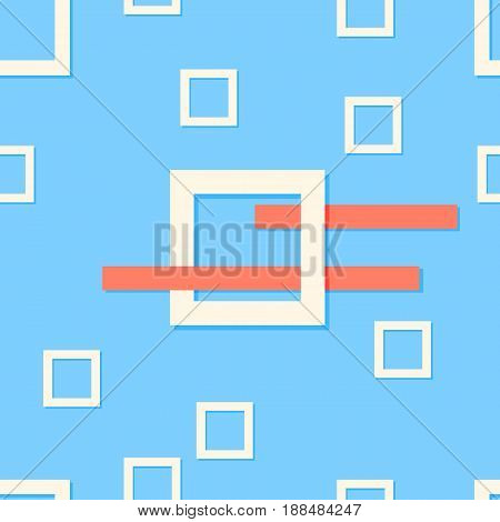 Abstract contemporary style. Modern blue background pattern design with composition of quare objects and lines. Vector illustration. Wallpaper minimalist.