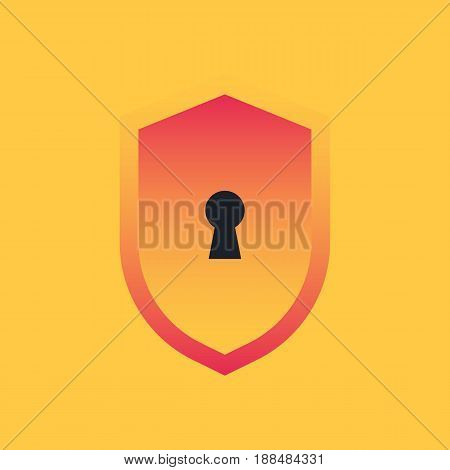 Shield with keyhole. The concept of safety and security. Icon privacy. Vector illustration in trendy style