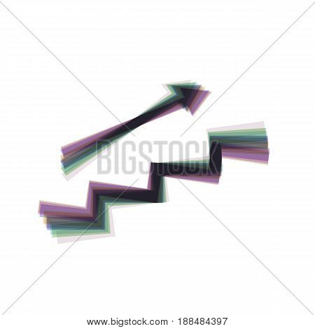 Stair with arrow. Vector. Colorful icon shaked with vertical axis at white background. Isolated.