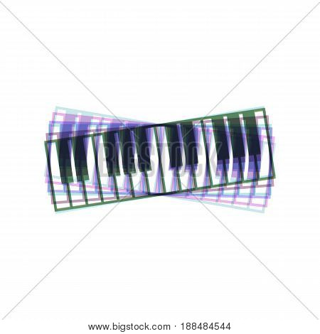 Piano Keyboard sign. Vector. Colorful icon shaked with vertical axis at white background. Isolated.