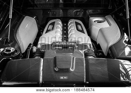 BERLIN GERMANY - MAY 17 2014: Engine V10 F21 modern sports car Audi R8. Black and white. 27th Oldtimer Day Berlin - Brandenburg