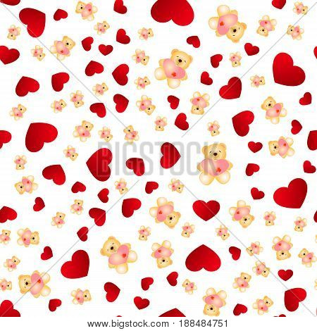 Seamless pattern with hearts and bears. Love background. Hearts background