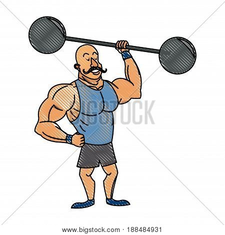 strong man mustache circus character image vector illustration