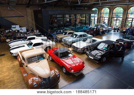 BERLIN GERMANY - MAY 17 2014: Various vintage cars. Top view. 27th Oldtimer Day Berlin - Brandenburg