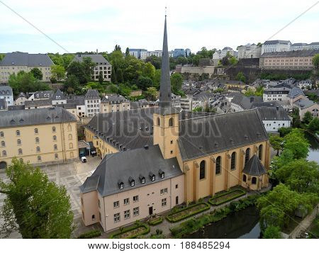 Neumunster Abbey, Beautiful Landmark at the Grund (Lower City) of Luxembourg City, Luxembourg