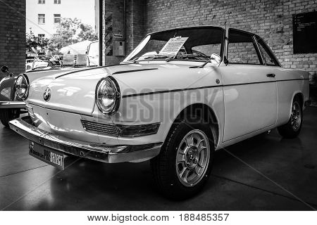 BERLIN GERMANY - MAY 17 2014: Small rear-engined car BMW 700 C Coupe (1963). Black and white. 27th Oldtimer Day Berlin - Brandenburg