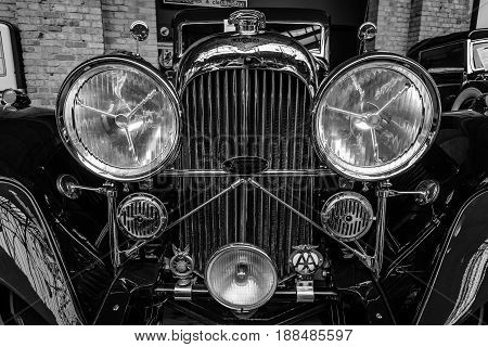 BERLIN GERMANY - MAY 17 2014: The front of the Lagonda M45 SportsSaloon Body by John Charles Ltd (1934). Black and white. Close up. 27th Oldtimer Day Berlin - Brandenburg