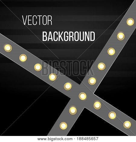 Vector background on intersecting lines light bulbs. Lit up electric light lamps board vector illustration