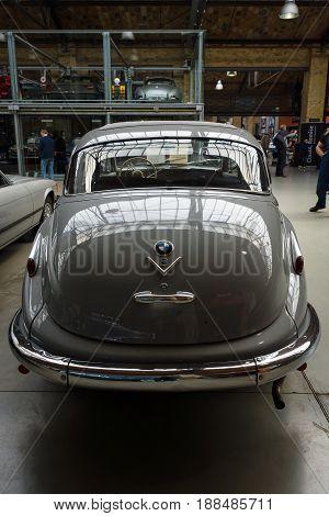 BERLIN GERMANY - MAY 17 2014: Full-size luxury car BMW 501 V8. Rear view. 27th Oldtimer Day Berlin - Brandenburg