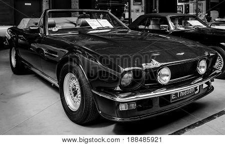 BERLIN GERMANY - MAY 17 2014: Car Aston Martin V8 Volante. Black and white. 27th Oldtimer Day Berlin - Brandenburg