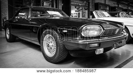 BERLIN GERMANY - MAY 17 2014: Car Jaguar XJS. Black and white. 27th Oldtimer Day Berlin - Brandenburg
