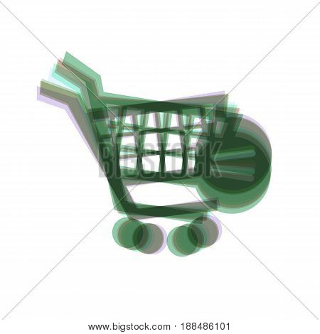 Vector Shopping Cart with Remove sign. Vector. Colorful icon shaked with vertical axis at white background. Isolated.