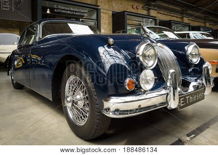 BERLIN GERMANY - MAY 17 2014: Sports Car Jaguar XK150 S Coupe. 27th Oldtimer Day Berlin - Brandenburg
