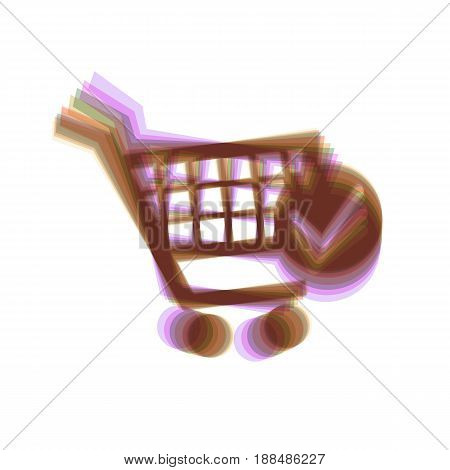 Shopping Cart with Check Mark sign. Vector. Colorful icon shaked with vertical axis at white background. Isolated.