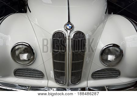 BERLIN GERMANY - MAY 17 2014: Front of the full-size luxury car BMW 502 convertible close-up. 27th Oldtimer Day Berlin - Brandenburg