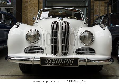 BERLIN GERMANY - MAY 17 2014: Full-size luxury car BMW 502 convertible. 27th Oldtimer Day Berlin - Brandenburg