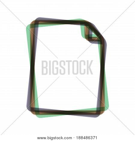 Vertical document sign illustration. Vector. Colorful icon shaked with vertical axis at white background. Isolated.
