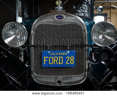 BERLIN GERMANY - MAY 17 2014: Front of the oldtimer Ford Model A Sport Coupe (1928) close-up. 27th Oldtimer Day Berlin - Brandenburg