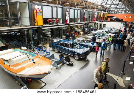 BERLIN GERMANY - MAY 17 2014: Various vintage cars at the exhibition. Top view. 27th Oldtimer Day Berlin - Brandenburg