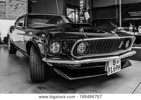 BERLIN GERMANY - MAY 17 2014: Muscle car Ford Mustang Boss 429 Fastback (1969). Black and white. 27th Oldtimer Day Berlin - Brandenburg